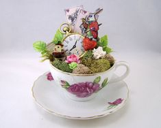 White Rabbits Tea Cup Centerpiece or Cake Topper