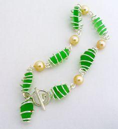 fun spiral wrap beach glass anklet or bracelet!