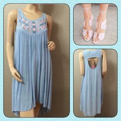 Hi-Low Hem Sky Blue Summer Dress  I just love this summer hi-low dress with open back, slip on very comfy, true to size!  100% rayon. Wyld E Hart Dresses High Low