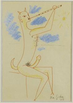 EROTIQUE - FAUNE FLUTISTE By Jean Cocteau ,1958