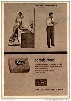 Original-Werbung/ Anzeige DDR 1960 - RIWA - KONSUM SEIFENFABRIK RIESA - ca. 115 x 170 mm