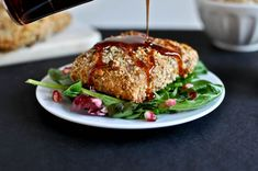 Roasted Almond Crusted Salmon with Pomegranate Glaze I howsweeteats.com