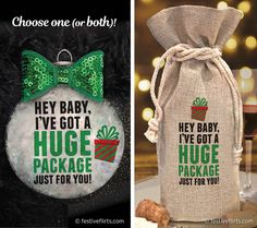 Hey Baby, I've Got a Huge Package Just For You Naughty Christmas Ornament Christmas Crafts For Adults, Diy Christmas Ornaments, Xmas Crafts, Christmas Wreaths, Funny Ornaments, Christmas Photos, Christmas 2019, Beaded Ornaments, Glitter Ornaments