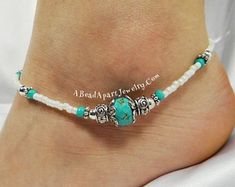 Beaded anklet, ankle bracelet made with semi-precious beads, decorative silver a… - Beach Jewelry Black Bracelets, Ankle Bracelets, Beaded Bracelets, Turquoise Jewelry, Silver Jewelry, Ankle Jewelry, Feet Jewelry, Beach Anklets, Ankle Chain