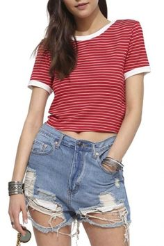 Womens Stripe Pattern Crop Top Short Sleeve O-Neck T-Shirt Loose Tops