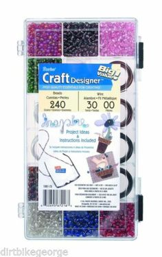 DARICE JEWELRY MAKING KIT-BRIGHT COLOR BEADS & WIRE IN ORGANIZER CASE 1981-73