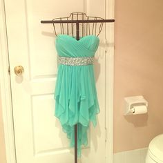 Turquoise & silver sequence party / prom dress Size 3 - worn once - party &/or party dress. Turquoise lace with silver & clear sequence and cascading back. Sequin Hearts Dresses Strapless