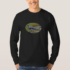 Blue Jay On Granite Outcropping With Moss On Edge T-Shirt - animal gift ideas animals and pets diy customize
