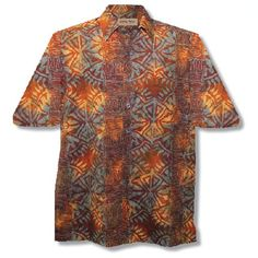 ce5c02b13 Amazon.com: Geometric Sunrise Hawaiian Batik Shirt By Johari West: Clothing