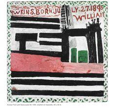 """William Hawkins, """"Arched Park with Nationwide #3,"""" 1969, enamel on masonite, 48"""" x 48"""" - Ricco Maresca Gallery"""
