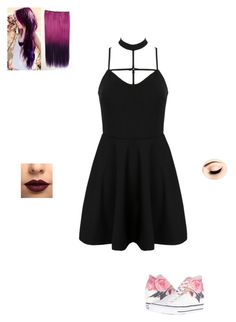 """Meeting Harley Quinn"" by maryvarleyrox ❤ liked on Polyvore featuring WithChic, LASplash and Converse"