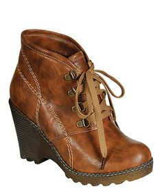 Take a look at this Camel Wedge Angel Bootie by Reneeze on #zulily today!