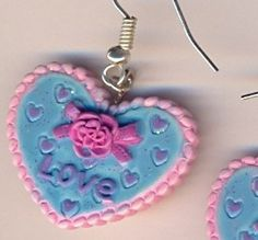 Kawaii Heart Pie Earrings €3.00 Tiny Violin, Crochet Earrings, Pie, Kawaii, Personalized Items, Heart, Jewelry, Torte, Cake