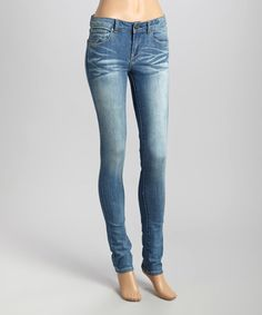 $32.99 Loving this Indigo Distressed Skinny Jeans on #zulily! #zulilyfinds