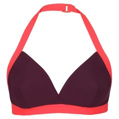 Corsano - The Contrast Halter Bikini Top - Aubergine/Hot Coral