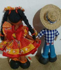 Casal caipira em biscuit e tecido. Sabuguinho Artesanato - Kátia Cilene  -  Ocara-Ce.