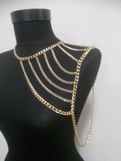 gold shoulder chainshoulder necklacebody chaingold by MukoLuxury