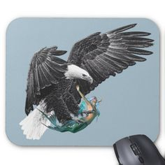 Bald Eagle Mermaid Fantasy Mouse Pad Custom Office Retirement #office #retirement