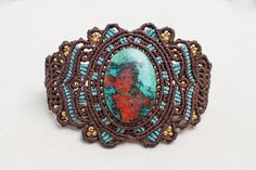 Macrame Turquoise Bracelet, macrame cuff,  gemstone macrame, vintage jewelry, jewelry in macrame, lady gift, women jewelry, brown, red, gold