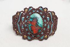 Macrame Turquoise Bracelet, macrame cuff,  gemstone macrame, vintage jewelry, jewelry in macrame, lady gift, women jewelry, brown, red, gold