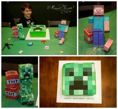 Minecraft birthday party, Minecraft Cake