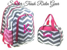 Personalized Backpack Lunch Bag Chevron Zig Zag Gray Book Monogram School New