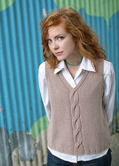 Ravelry: Mondo Cable Shell / Vest pattern by Bonne Marie BurnsChic Knits is your source for modern hand knitting patterns. You'll enjoy knitting AND wearing our collection of sassy classics that reflect the way you work and live designed by Bonne Mar Knit Vest Pattern, Knit Patterns, Ropa Upcycling, Love Knitting, I Cord, Christmas Knitting Patterns, Dress Gloves, Yarn Brands, Knitting For Beginners