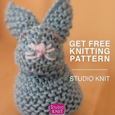 Knit a Bunny from a Square : Adorable! Knit a Bunny from a Square from an easy stitch pattern by Studio Knit! Celebrate Springtime and Easter with this little bunny rabbit easily shaped from a simple knitted square. Baby Knitting Free, Baby Cardigan Knitting Pattern Free, Cable Knitting, Easy Knitting Patterns, Knitting Videos, Knitted Bunnies, Quick Knits, Crochet Baby Clothes, Knitted Blankets