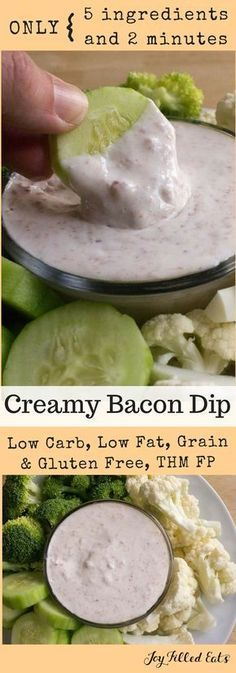 Creamy Turkey Bacon Dip - Low Carb, Low Fat, THM FP, Grain Gluten Sugar Free - My Creamy Bacon Dip will not disappoint. It is rich in flavor despite being low fat & low carb. Serve with veggies for a guilt free appetizer or side. Low Fat Low Carb, Low Fat Diets, Low Carb Diet, Gm Diet, Fodmap Diet, Diet Foods, Paleo Diet, Ketogenic Diet, Low Carb Appetizers