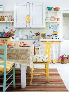 Shabby Chic Kitchen Decorating Ideas - white background and pops of color!