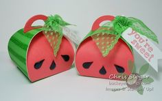 Watermelon Treat Boxes made with the Curvy Keepsake Box die from Stampin' Up!