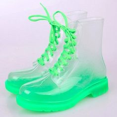 Fashion-Ankle Lace-Up transparent crystal ms candy color flat for rain boots Transparent Boots, Combat Boots Style, Catty Noir, Kawaii Shoes, Dream Shoes, Doc Martens, Sock Shoes, Kitsch, Cyberpunk