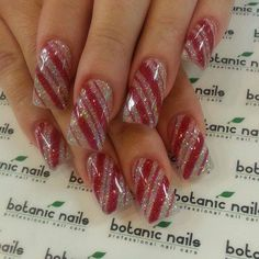 Sparkly Candycane Nails