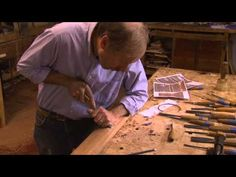 Duncan Phyfe Low-Relief Carving: Craftsman Allan Breed Carves a Bow Knot and Thunderbolt Crest