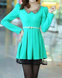 Sky blue The new sweet doll Pan collar Slim thin big skirt dress - Fashion Clothing, Latest Street Fashion At Abaday.com