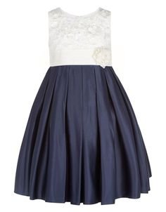She'll be the belle of the ball in our Enola dress for girls, crafted with a fitted cream lace bodice with hand-embellished flower appliqués, and a full, ple. Monsoon Flower Girl Dress, Flower Dresses, Navy Bridesmaid Dresses, Bridesmaid Flowers, Bridesmaid Ideas, Lace Bodice, Free Clothes, Kids Fashion, Party Dress