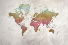 Against a rougher background and in courser paper, all the world's countries shine in the clear colours of the rainbow. This world map mural was created in 2010 and the countries are tightly, tightly listed – as befit a school atlas. World Map Mural, World Map Poster, Wallpaper Online, Wall Wallpaper, Ipad Background, Village Photos, Beautiful Wall, Aarhus, Wall Prints