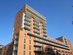 Poptahof, Delft, Holland.  Slim balconies of High Performance Concrete.