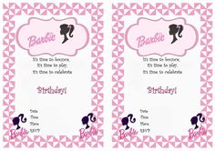 Barbie FREE Printable Birthday Party Invitations
