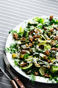 Low-Carb Zucchini Walnut Salad - Dairy-Free and Vegetarian - Diet Doctor Low Carb Recipes, Diet Recipes, Cooking Recipes, Healthy Recipes, Cooking Time, Keto Foods, Keto Meal, Diet Doctor Recipes, Comida Keto