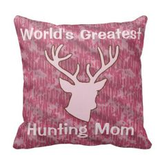 Personalized Pink Camo Buckhead Hunting Hunter Throw Pillows  Your friends will love this custom animal hunter product. Perfect gift for your outdoors woman, sports woman or hunting guide ! This product features a buck deer head antlers and a camo background. Great for a hunter, hunting guide, sportsman or woman, outdoorsman or deer lover.