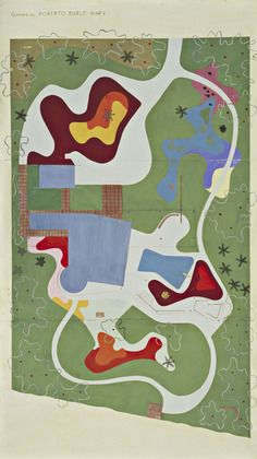 Garden Design for Beach House for Mr. and Mrs. Burton Tremaine, project, Santa Barbara, California, Site plan / Roberto Burle Marx, 1948