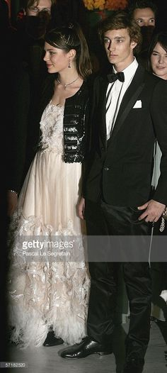 Charlotte Casiraghi and her brother Pierre Casiraghi arrive at the Monte Carlo Rose Ball 2006 at The Sporting Club of Monte Carlo on March 25, 2006 in Monte Carlo, Monaco.