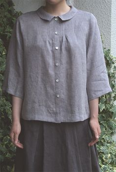 LINNET Linen blouse リネンブラウス No.63長袖へちま衿ブラウス