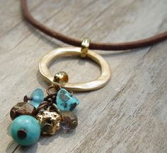 Turquoise Brown and Gold Cluster Pendant Leather by ravitschwartz, $36.00