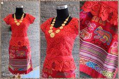 Tenun Buna Besikama bordir + Lace Prada + lining tricot + furing. By Gendhis Batik. Wow i love it