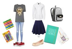 """""""Back 2 School"""" by bellaclairecassedemont ❤ liked on Polyvore featuring QNIGIRLS, Skinnydip, Betsey Johnson, Happy Jackson, Kate Spade, Juicy Couture, Converse and Sharpie"""