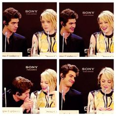 I love this. The way he looks at her is just... Andrew Garfield and Emma Stone