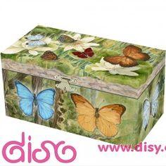 #joyerosmusicalesinfantiles Joyeros musicales infantiles - caja de música con mariposas.