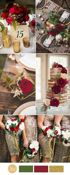 gold and red wedding color ideas autumn wedding colors / wedding in fall / fall wedding color ideas / fall wedding party / april wedding ideas Gold Wedding Colors, Gold Wedding Theme, Wedding Color Schemes, Fall Wedding, Rustic Wedding, Dress Wedding, Wedding Flowers, Christmas Wedding, Geek Wedding
